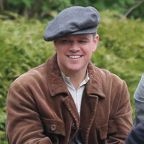 Matt Damon and George Clooney on Set of The Monuments Men