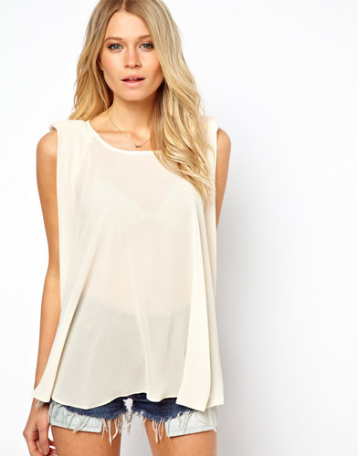 ASOS Top With Swing Drape And Shoulder Detail
