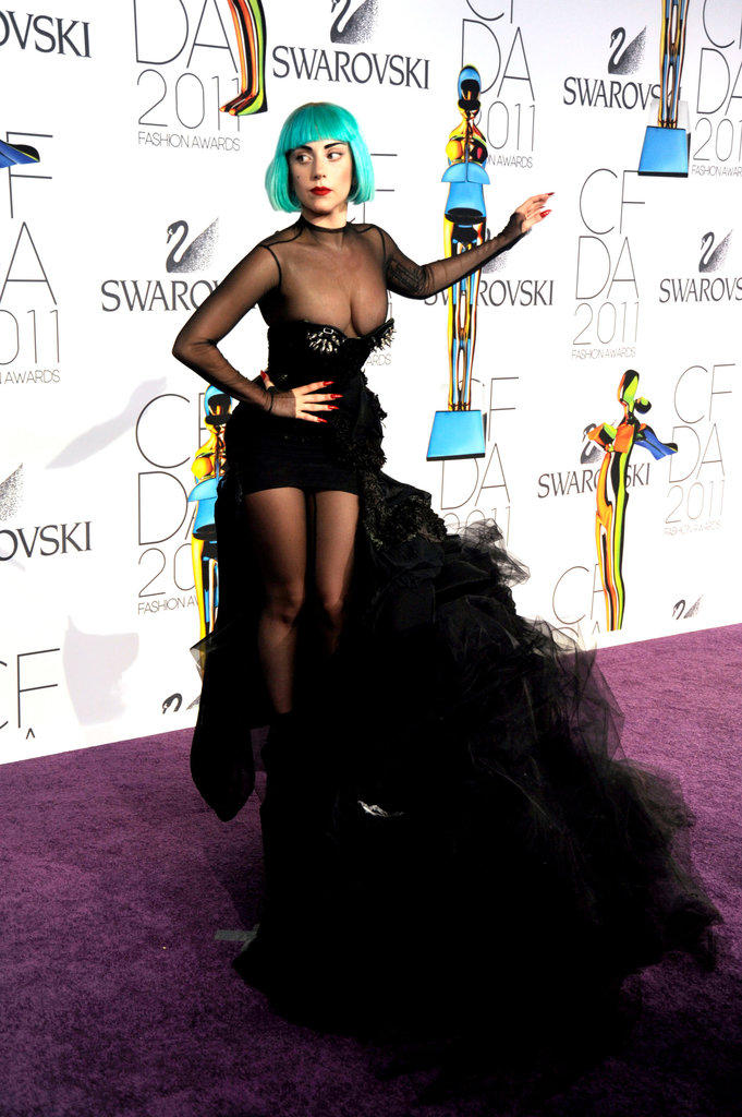 And then there's Lady Gaga. The pop sensation claimed our attention in 2011 when she wore this sexy, sheer Mugler number, complete with ultra-voluminous train.