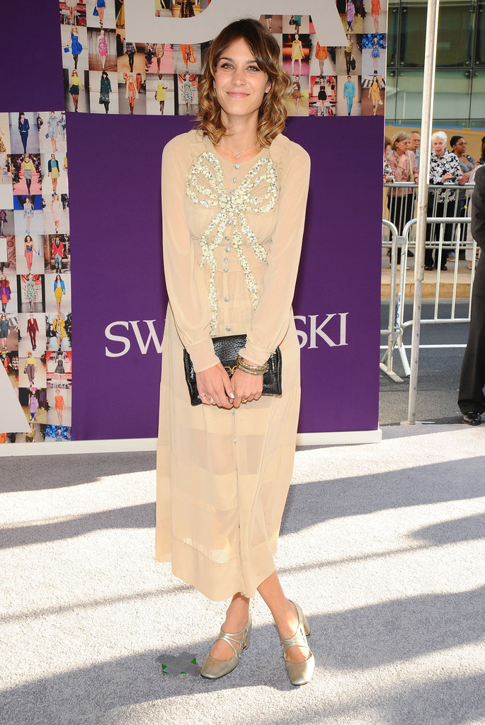 Back in 2010, Alexa Chung wore a peachy Marc Jacobs dress sweetened by sparkling beadwork in the shape of a bow.