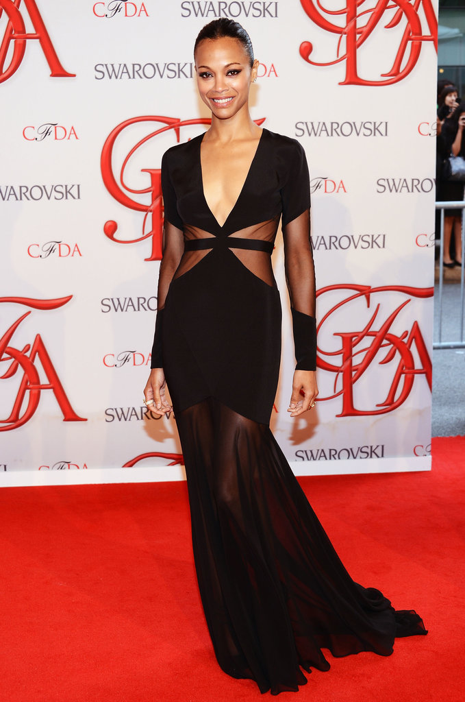At last year's awards, Zoe Saldana looked perfect in a sexy black Prabal Gurung floor-sweeper with a low neckline and sheer panelling.