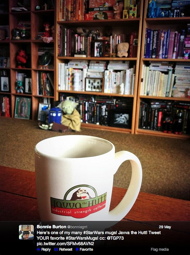 Hah! Java! Because it's coffee! We'd take our morning cup o' joe in Star Wars web show host Bonnie Burton's mug.