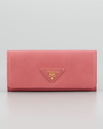 Prada Saffiano Triangle Continental Flap Wallet, Pink