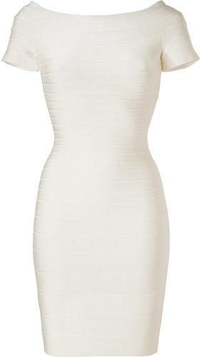 Hervé Léger Ivory Off-the-Shoulder Bandage Dress
