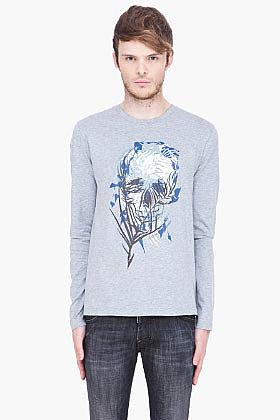 ALEXANDER MCQUEEN heather grey Palm Skull T-Shirt