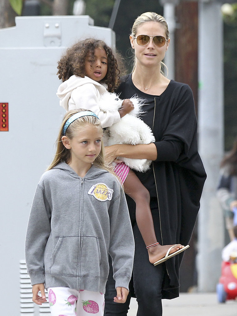 Heidi Klum kicked off her 40th birthday over breakfast with her children and boyfriend Martin Kristen, in LA on Saturday.