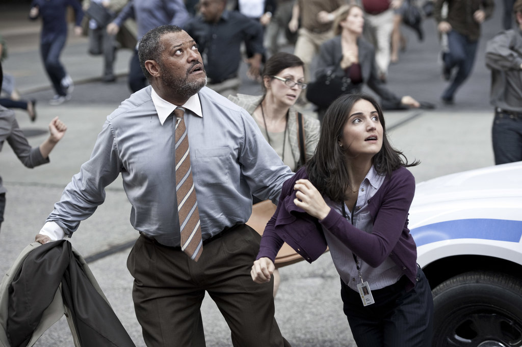 Laurence Fishburne and Rebecca Buller in Man of Steel.