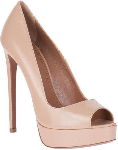 Alaïa Nude leather peep-toe pump