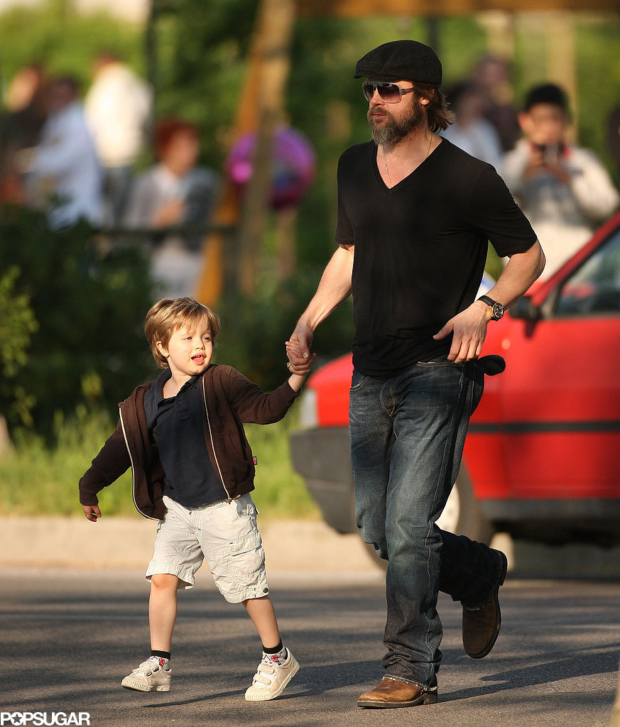 Brad Pitt walked Shiloh across the street while visiting a park in Venice, Italy, back in April 2010.