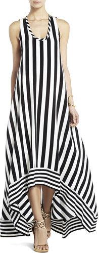 Gia Silk High-Low Striped Dress