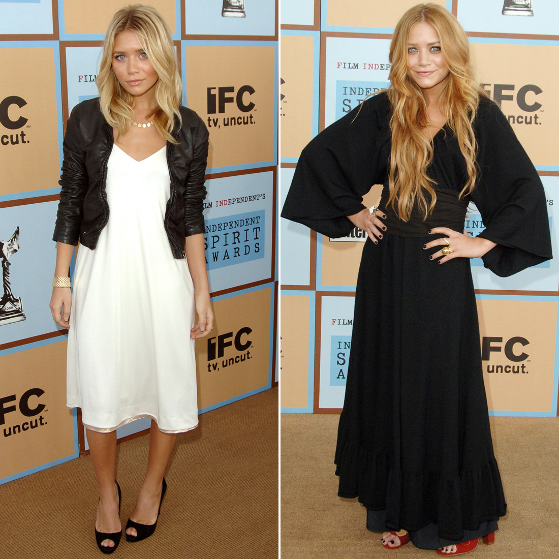Twinning combo: For the 2006 Independent Spirit Awards, Mary-Kate and Ashley chose easy, breezy silhouettes in staple hues.  Ashley paired her white slip dress with a shrunken leather jacket and black peep-toes. Mary-Kate donned a draping black gown with full sleeves and red peep-toe pumps.