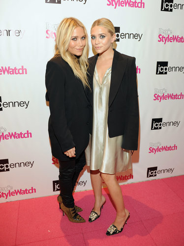 Twinning combo: It was all about a statement-making shoe for the JCP People Stylewatch event in September 2011.  Mary-Kate went rocker-chic in black leather pants, an oversize blazer, and tribal suede ankle boots. Ashley polished off her pinstriped silk shirtdress with ornate printed pumps.