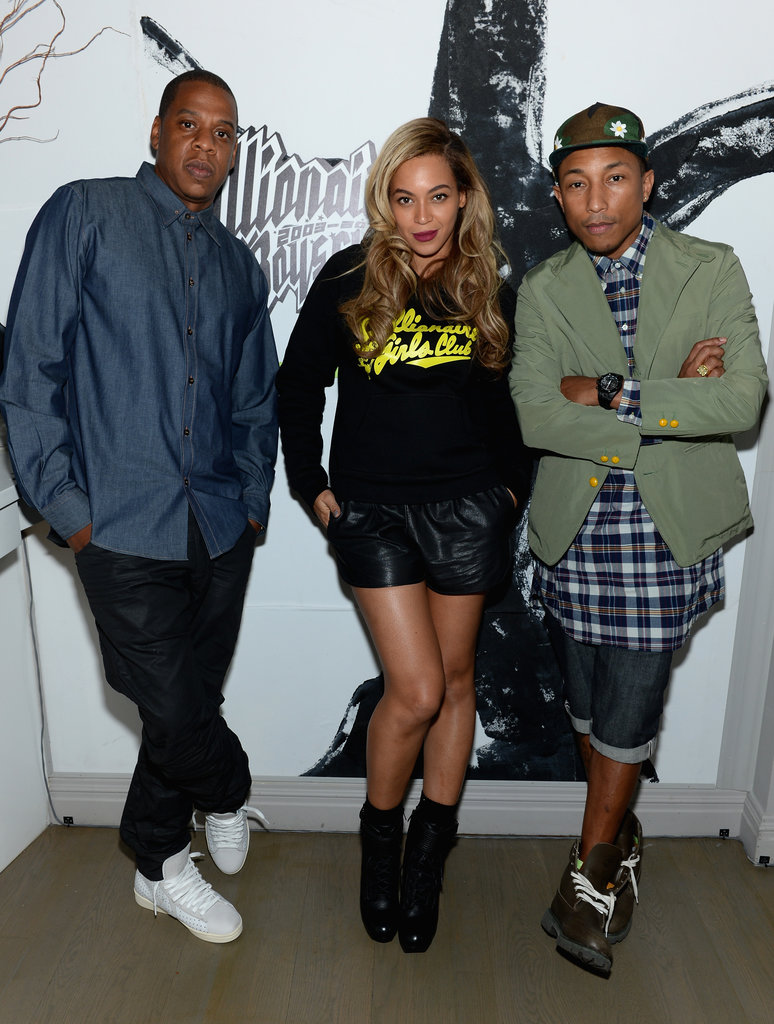 Beyoncé Knowles and Jay-Z posed with Pharrell WIlliams at the Billionaire Boys Club anniversary dinner in NYC.
