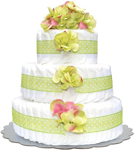 Bella Sprouts Three-Tier Diaper Cake - Green Polka Dot Hydrangeas