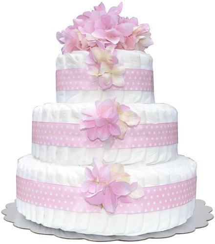 Bella Sprouts Three-Tier Diaper Cake - Pink Polka Dot Hydrangeas