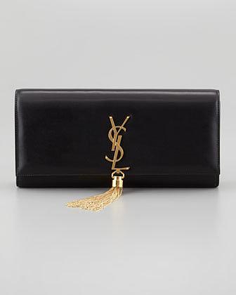 Saint Laurent Cassandre Tassel Clutch Bag, Black