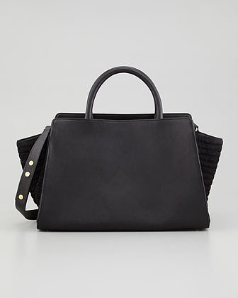 Z SPOKE ZAC POSEN Eartha East-West Leather Satchel Bag, Black