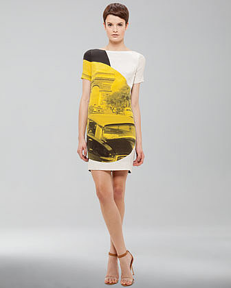 Akris punto Arc de Triomphe-Print Dress, White/Black/Yellow