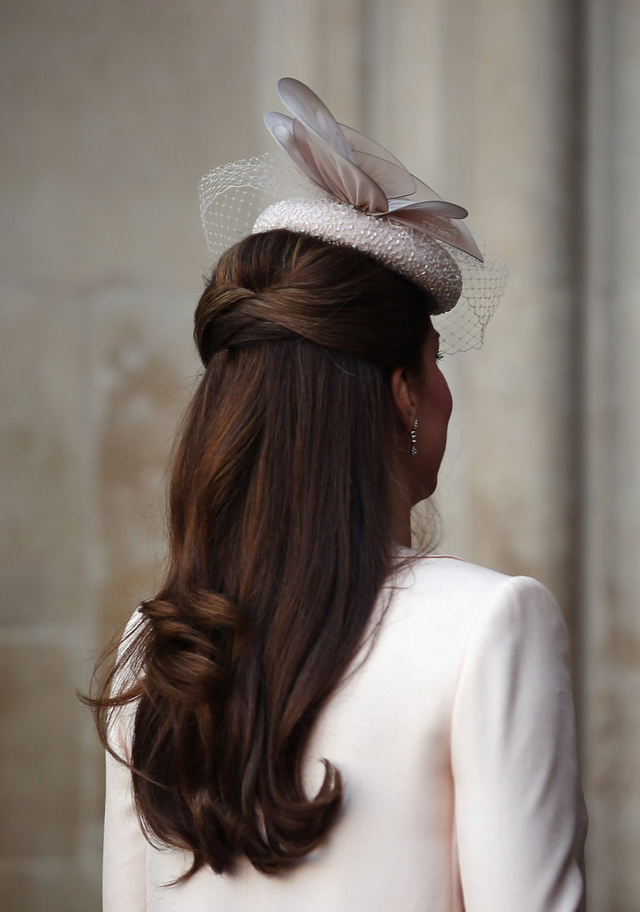 Kate Middleton took care to match her nude embellished hat to her dress.