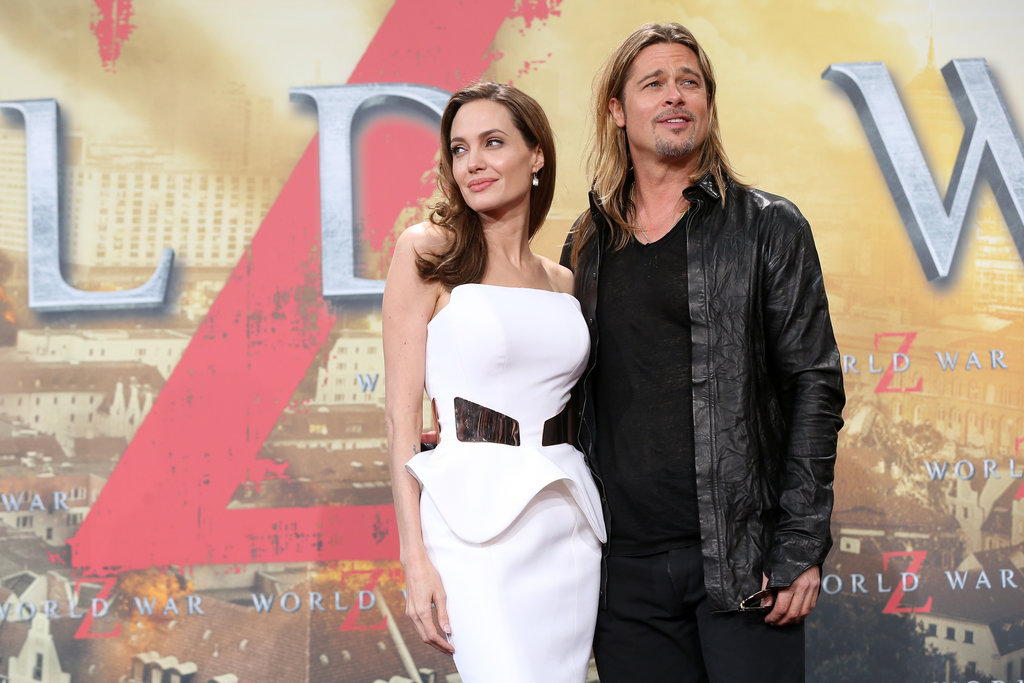 Brad Pitt and Angelina Jolie posed together at the Berlin premiere of World War Z.