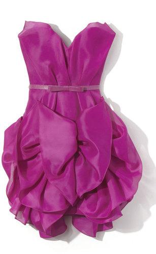 Marchesa Strapless Silk Gazaar Cocktail Dress