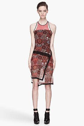 HELMUT LANG Red floral Mandala Print Assymetric Dress