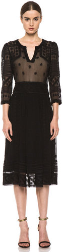 Isabel Marant Ludivine Embroidered Silk Dress in Black