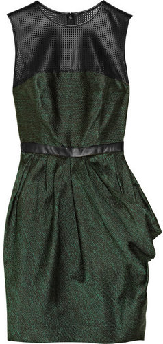 Jason Wu Leather-trimmed silk-blend jacquard dress