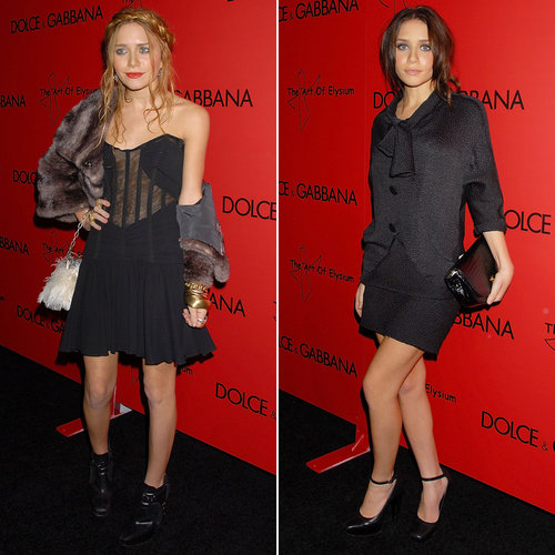 Twinning combo: For a December 2006 charity event, Mary-Kate and Ashley stepped out with a dash of feminine detail added to their all-black ensembles.  Mary-Kate worked a paneled LBD with corseted bodice and ruffle hem and covered her shoulders with a fur shrug. Ashley was perfectly poised in her monochromatic look with tie-neck detail.