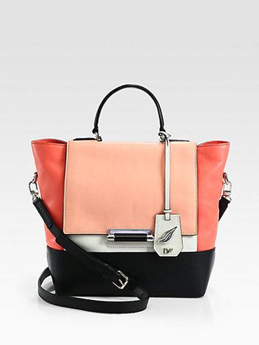 Diane von Furstenberg 440 Colorblock Leather Small Top Handle Bag