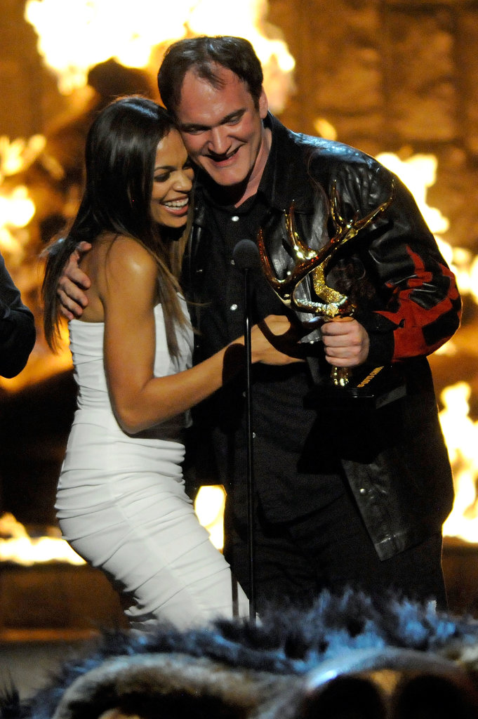 Rosario Dawson got a friendly hug from Quentin Tarantino at the Guys Choice Awards in 2009.