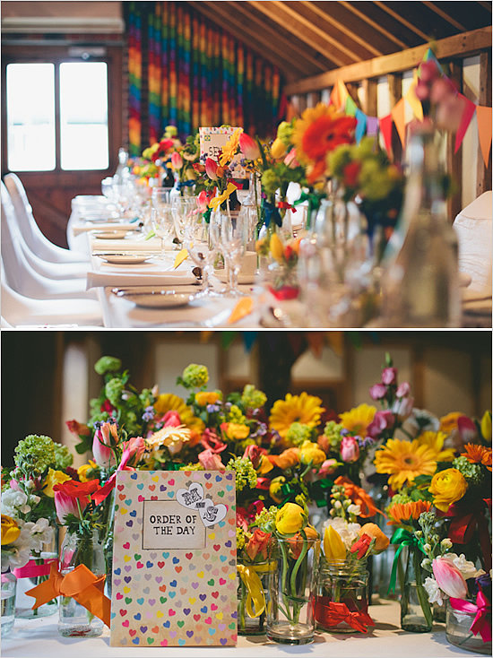 There are many ways to use rainbows in a wedding's décor. Consider: Rainbow wind chimes. Colorful streamers or ribbons. Colored table cloths. Rainbow colored paper lanterns or other hanging décor. Colored string of lights or colored light bulbs. Rainbow unity candle set or .
