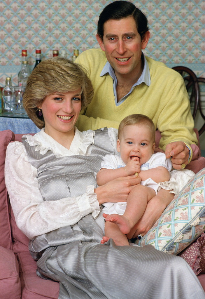 Princess Diana and Prince Charles posed with an infant Prince William at Kensington Palace in London in February 1983.