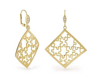 Stamped with Love Puzzle Earring