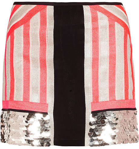 Sass & bide All Good Things embellished neon silk skirt