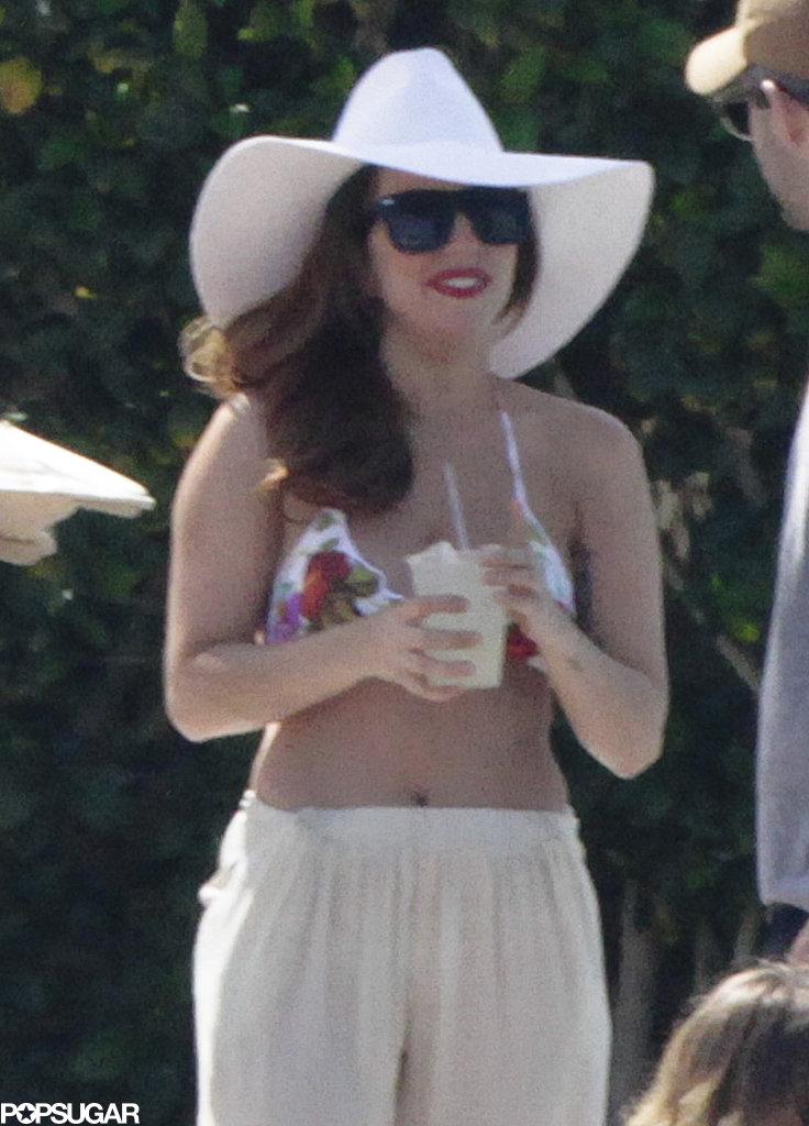 Lady Gaga drank a cold beverage poolside.