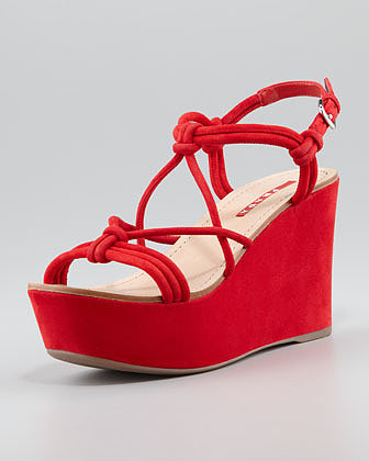 Prada Suede Strappy Knot Wedge Sandal, Red