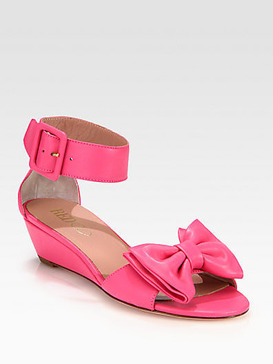 RED Valentino Leather Bow Sandals