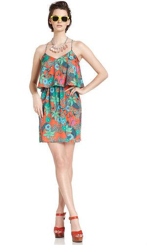 Bar III Dress, Sleeveless Floral-Print A-Line
