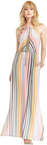 Bar III Dress, Sleeveless Halter Striped Maxi