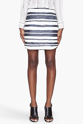 3.1 PHILLIP LIM Metallic navy Striped Curved-Hem skirt