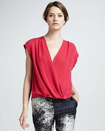 Halston Heritage Wrap-Front Top