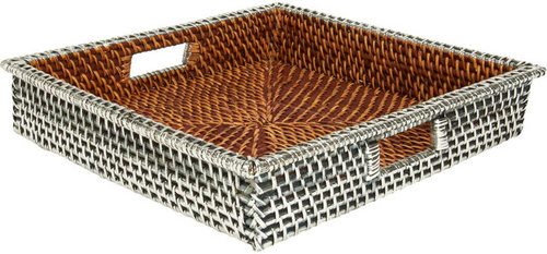 Gaeca Rattan and Silver Metal Square Tray
