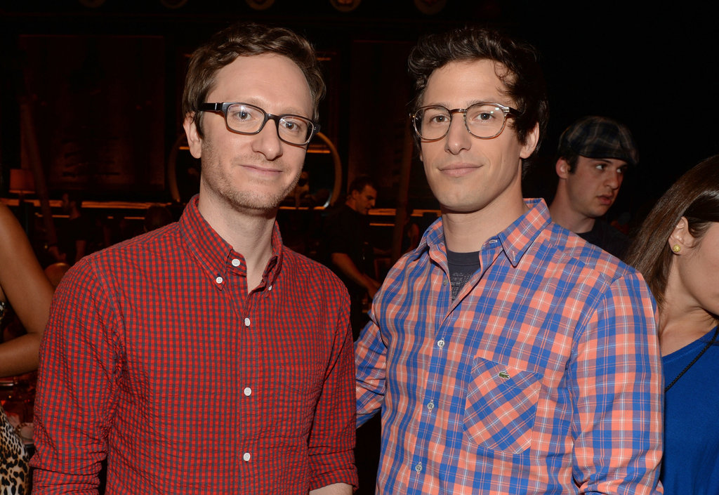 Akiva Schaffer and Andy Samberg posed together inside.
