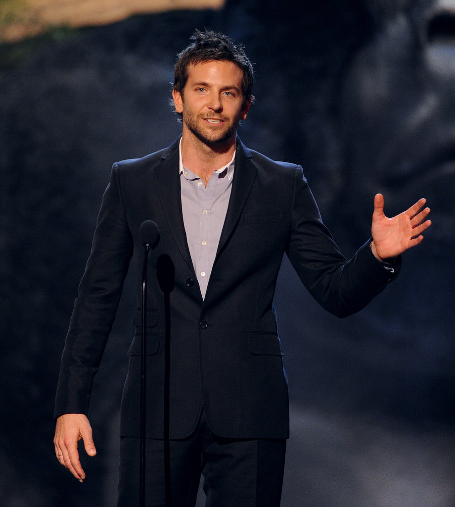 Bradley Cooper spoke on stage.