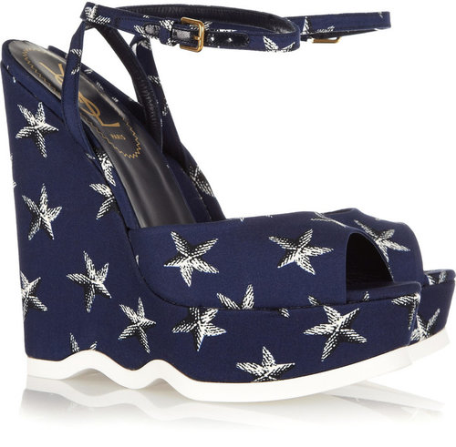 Yves Saint Laurent Riviera starfish-print canvas wedge sandals