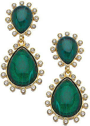 Kenneth Jay Lane Emerald Crystal Teardrop Clip On Earrings