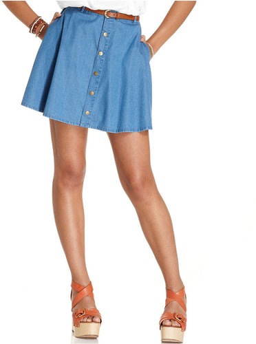 American Rag Juniors Skirt, Chambray Belted A-Line
