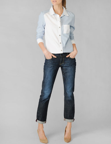 Eden Colorblocked Shirt - Ava Chambray / White