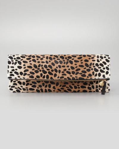 Clare Vivier Leopard-Print Oversize Clutch